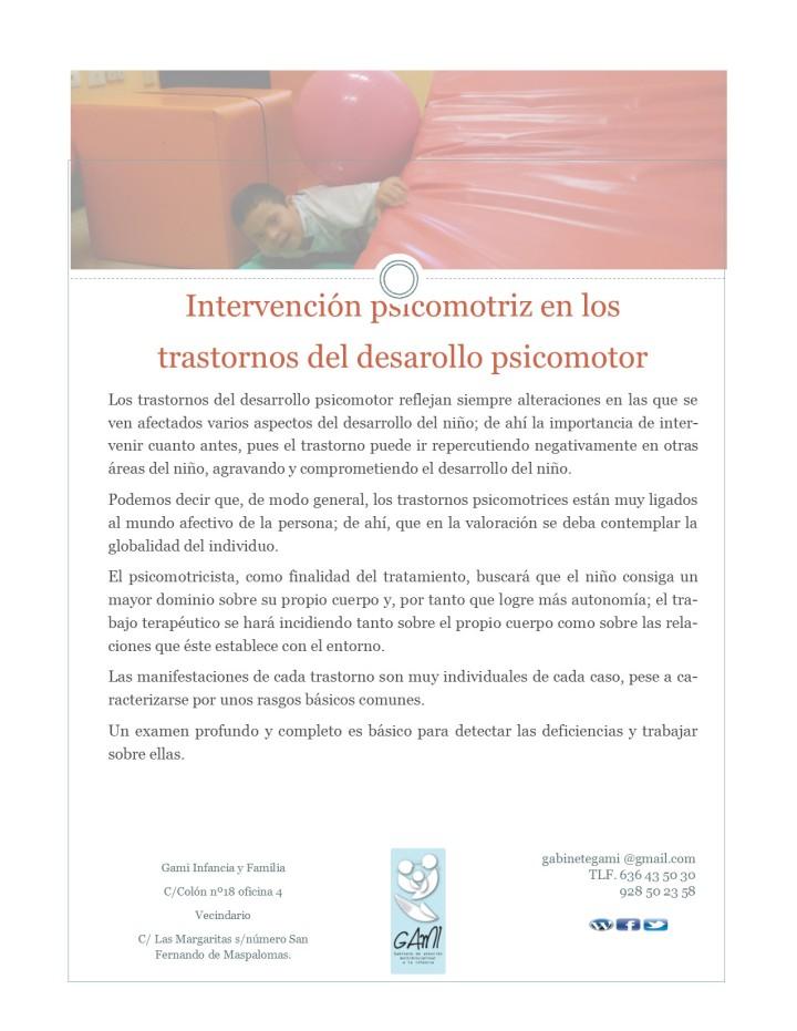 Intervención psicomotriz en los trastornos del desarrollo psicomotor